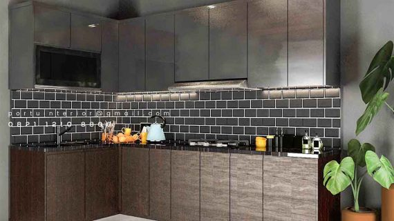 Kitchen Set Minimalis Motif Kayu & Warna Grey Cluster Sierra Metland Transyogi Cileungsi Bogor