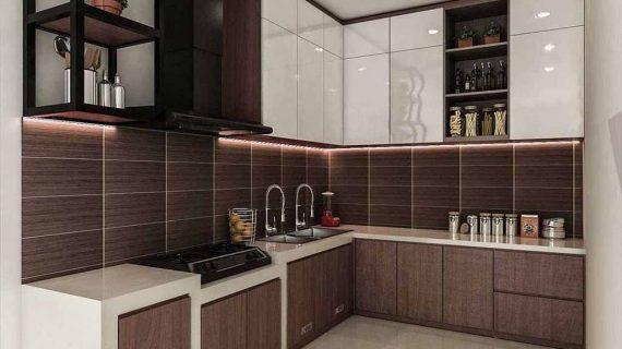 Kitchen Set Minimalis Warna Putih & Motif Kayu Perumahan Taman Alfa Indah Joglo Kembangan Jakarta