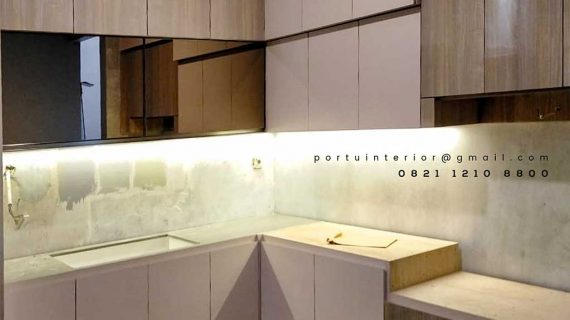 Kitchen Set warna pearl Sutera Sitara Alam Sutera Serpong id4142P.