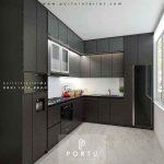Bikin Kitchen Set Motif Kayu & Warna Grey Project MPR Dalam Cilandak Jakarta
