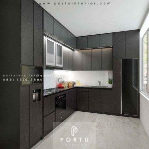 Bikin Kitchen Set Motif Kayu & Warna Grey Project MPR Dalam Cilandak Jakarta ID4595PT