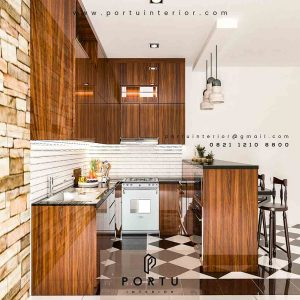 Pembuatan Kitchen Set & Meja Bar minimalis finishing HPL