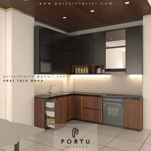 Kitchen Set HPL Motif Kayu & Warna Grey Premier Park Cikokol Tangerang ID4373PT