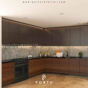Kitchen Set Minimalis Motif Kayu & Warna Grey Jelambar Grogol Petamburan Jakarta Id4727P