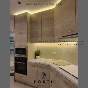 Jasa Kitchen set Minimalis Motif Kayu Apartemen Fountain Park Pancoran Jakarta ID4634P
