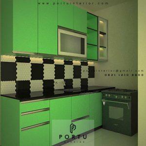 Kitchen Set HPL Light Green Perumahan Amaya Townhouse Cipedak Jagakarsa Id4612PT