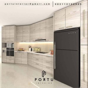 Kitchen set Minimalis Motif Kayu Apartemen Fountain Park Pancoran Jakarta ID4634P