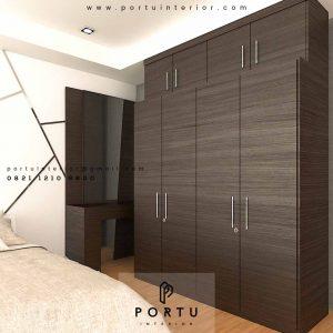 Lemari Pakaian Pintu Swing Motif Kayu Apartemen Kempinski Private Residence Menteng Id3168