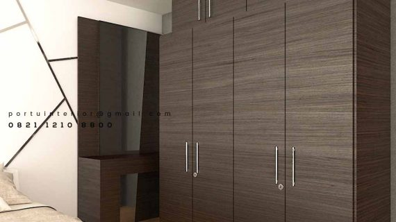 Lemari Pakaian Pintu Swing Motif Kayu Apartemen Kempinski Private Residence Menteng
