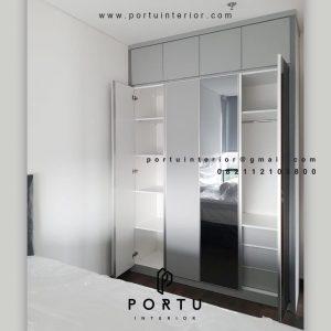 Bikin Lemari Pakaian Pintu Swing Light Grey Apartemen Veranda Residence at Puri Kembangan Id4883
