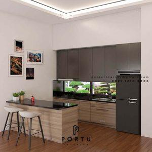Kitchen Set HPL Motif Kayu & Grey Cluster Lotus Serpong Lagoon Setu Tangerang Id4582T