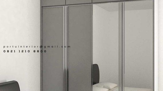 Lemari Pakaian Pintu Swing Light Grey Apartemen Veranda Residence at Puri Kembangan