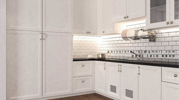 Kitchen Set Semi Klasik Putih Kompleks Billy Moon Duren Sawit Jakarta