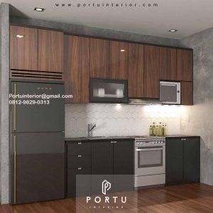 Kitchen Set Minimalis Murah Motif Kayu & Warna Grey Perumahan Sarua Permai Pamulang Id4832P1