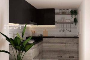 Jasa Kitchen Set Minimalis Motif Kayu & Black Komplek Agraria Kebayoran Lama Jakarta ID5044