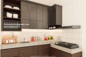 Kitchen Set HPL Motif kayu & Grey Cluster Dhana Suvarna Jati Sindang Jaya Tangerang ID4732P