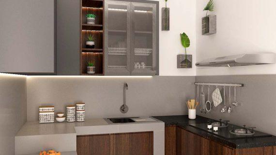 Model Kitchen Set Terbaru Motif Kayu & Grey Cipondoh Tangerang