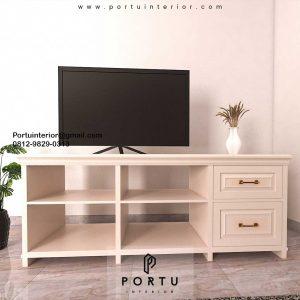 Design Credenza TV Semi Klasik Cream Gunung Sahari Sawah Besar Jakarta ID4938