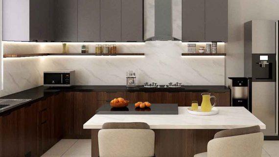 Jual Kitchen Set HPL Motif Kayu & Grey Perumahan Kayu Putih Pulo Gadung Jakarta