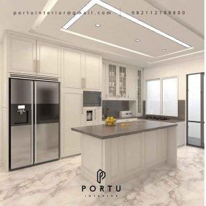 Jasa Pembuatan Kitchen Set Semi Klasik Putih Doff Cluster Violin Golf Island Pik Penjaringan ID4969P