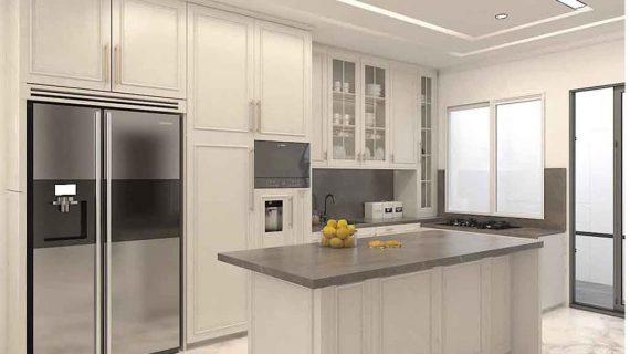 Jasa Pembuatan Kitchen Set Semi Klasik Putih Doff Cluster Violin Golf Island Pik Penjaringan