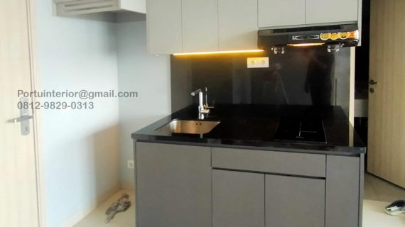 Kitchen Set Minimalis Grey Apartemen Orange County Tower Newport Lippo Cikarang