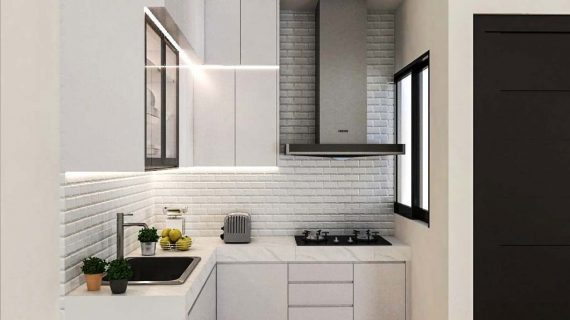 Kitchen Set Minimalis Putih Glossy Perumahan Vanya Park BSD Pagedangan Tangerang