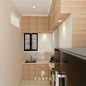 Model Kitchen Set Minimalis Motif Kayu & Putih Perumahan Taman Nyiur Sunter Agung Tanjung Priok Id5051P
