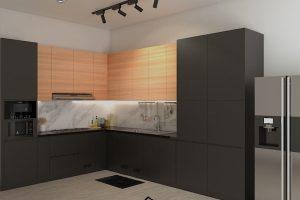 Kitchen Set HPL Black & Motif Kayu Perumahan Sunrise Garden Kebon Jeruk ID5155P