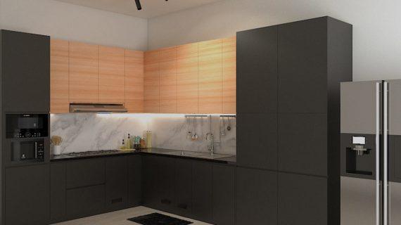 Kitchen Set HPL Black & Motif Kayu Perumahan Sunrise Garden Kebon Jeruk