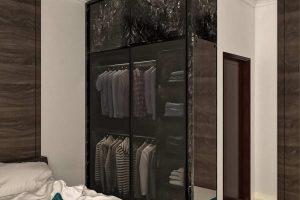 Lemari Pakaian Sliding Motif Stone & Kaca Cermin Perumahan De Savanna Residence Ciputat Timur ID5213
